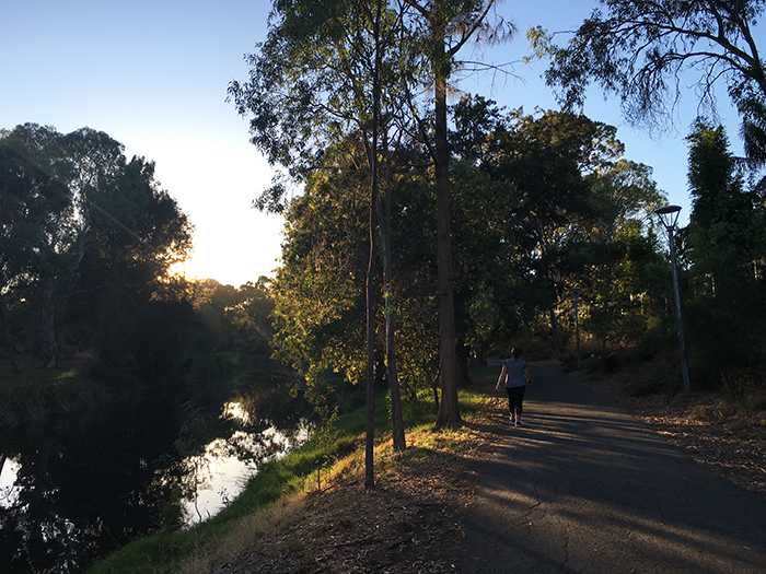Walking along the Torrens River, Adelaide
